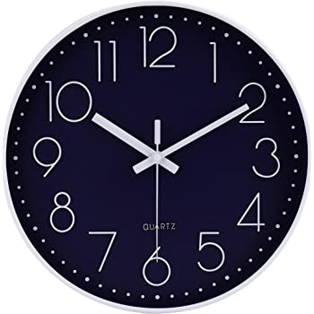 jomparis 12 Inch Silent Non-Ticking Battery Operated Quartz Round Wall Clock Navy Blue Color Modern Decro Clock for Office Bedroom