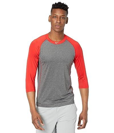 Nike Pro Dry 3/4 Top (Dark Grey Heather/University Red/White) Men