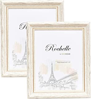 8x10 Picture Frame White/Gold - 2 Pack, Wall Mount Desktop Display, Frames by EcoHome