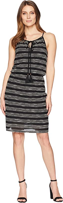Zigzag Stripe Cinch Waist Halter Dress