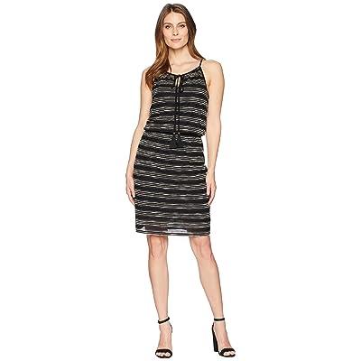 TWO by Vince Camuto Zigzag Stripe Cinch Waist Halter Dress (Rich Black) Women