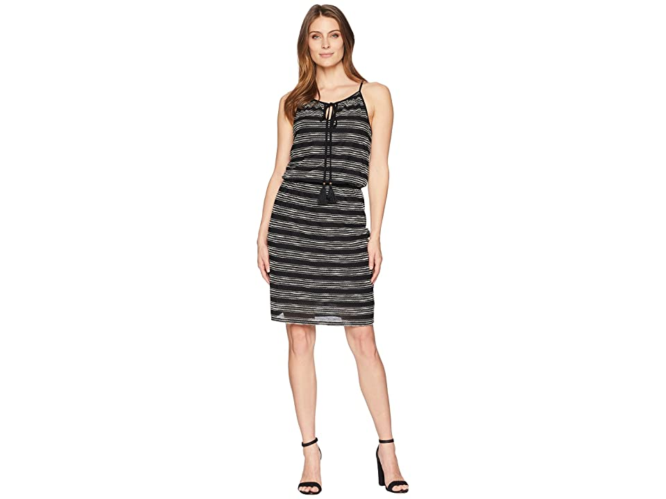 TWO by Vince Camuto Zigzag Stripe Cinch Waist Halter Dress (Rich Black) Women