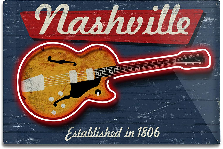 Lantern Max 73% OFF Press Nashville Tennessee Sign 100970 online shopping Vintage Guitar