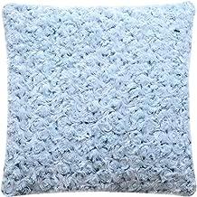 De Moocci Decorative Super Soft Plush - Roses Faux Fur Pillow 18x18 Fuzzy Accent Pillow - Cushion and Cover - Sky Blue