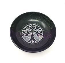 vrinda Soapstone Scrying/Smudge Bowl, Colored Tree of Life