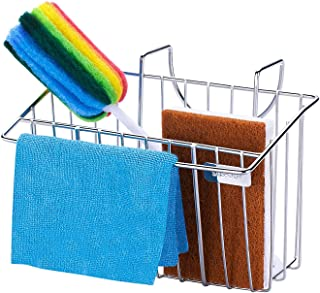 Sponge Holder for Kitchen Sink with Dish Cloth Hanger, 2-in-1 Sink Caddy, Kitchen Sink Sponge Brush Soap Holder, Dishwashi...