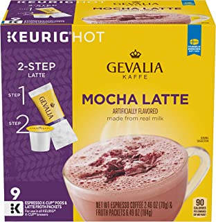 Gevalia Mocha Latte Espresso Keurig K Cup Coffee Pods & Froth Packets (36 Count, 4 Boxes of 9)