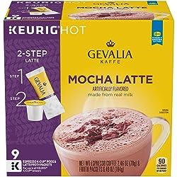 Gevalia Mocha Latte Espresso Keurig K Cup Coffee Pods & Froth Packets (9 Count)