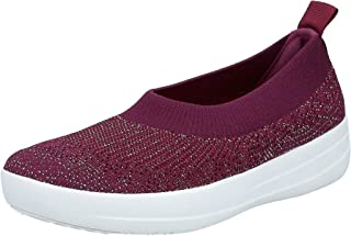 FITFLOP Uberknit Slip-On Ballerina Women's Women Fashion Sandals - Red (Lingonberry/Dark Red Mettalic 775)