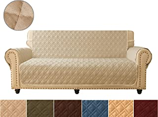 Sofa Cover, Reversible Quilted Furniture Protector, Ideal Sofa Slipcovers for Pets & Children, Water Resistant, Will Keep your Couch Stain, Dirt & Scratches-Free   Double line checkered grid Khaki