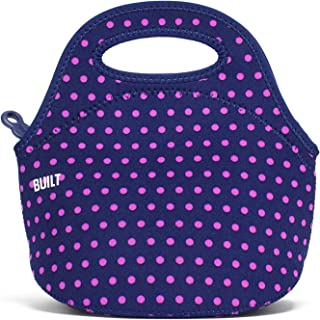 BUILT LB10-MNV Gourmet Getaway Mini Soft Neoprene Lunch Tote Bag-Lightweight, Insulated and Reusable, Snack, Dot Navy