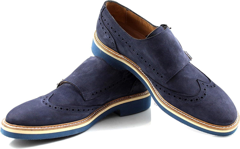 CANNERI Chaussures de Ville à Boucles - 9026 - Chaussures Monk Strap - Mocassins - Brogue - Chaussure à Enfiler pour Les Affaires et Les Loisirs en Cuir Nubuck avec Design et Style
