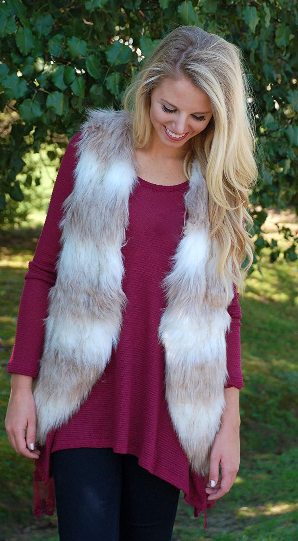 Dikoaina Fashion Women Sleeveless Front Open Warm Faux Fur Vests Coat Outwear