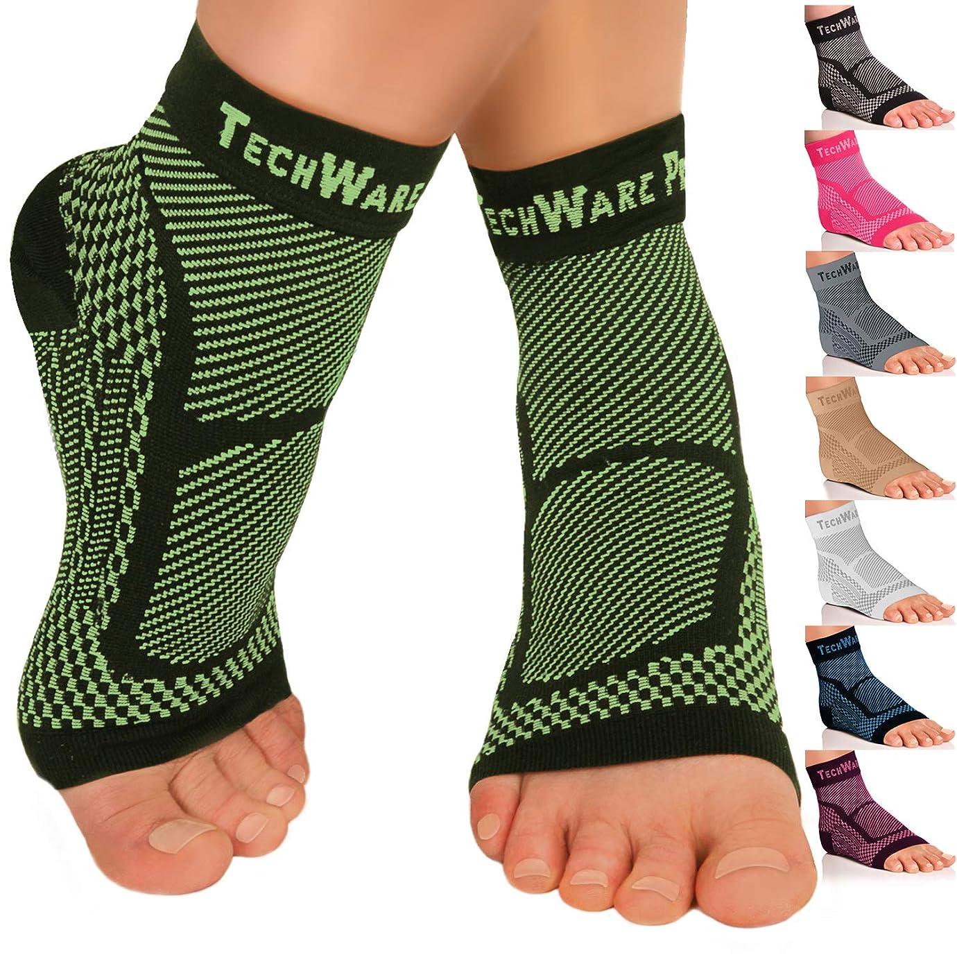 文法誰でもボランティアTechWare Pro 足首ブレース圧縮スリーブ - アキレス腱炎、関節痛を和らげます。 足底筋膜炎ソックスは足のアーチサポート付きで、腫れやかかとの平痛を軽減します。 スポーツの怪我回復