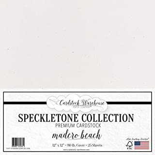 Madero Beach White SPECKLETONE Recycled Cardstock Paper - 12 x 12 inch - Premium 80 LB. Cover - 25 Sheets
