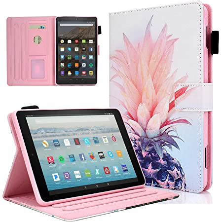 Fire HD 8 Case DTangLsm Slim Leather Folio Cover Case for Amazon Kindle Fire HD 8 Tablet (8th/7th/6th Generation, 2018/2017/2016 Release) NOT Fit All-New Fire HD 8 10th Gen & HD 8 Plus 2020, Pineapple