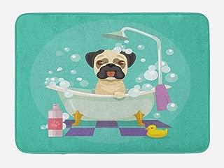 Lunarable Nursery Bath Mat, Pug Dog in Bathtub Grooming Salon Service Shampoo Rubber Duck Pets in Cartoon Style Image, Plush Bathroom Decor Mat with Non Slip Backing, 29.5