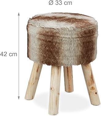 Relaxdays Tabouret de Fourrure, décoration, synthétique, siége avec Pieds en Bois, Rustique HxD 42x33x 45 cm,Gris-Brun, 1 élé