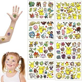 GUBOOM Tattoo Kids, 8 Vellen Pokemon Kids Tattoos Set, Waterproof Kids Tattoos Pokemon, Huidvriendelijke Kids Tattoos, Wat...