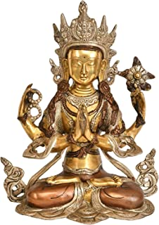 Exotic India Four Armed Avalokiteshvara Brass Statue