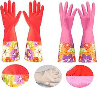 Dishwashing Gloves, Non-slip Household Kitchen Cleaning Rubber Gloves with Lining for Women (2 Colors-Pack)
