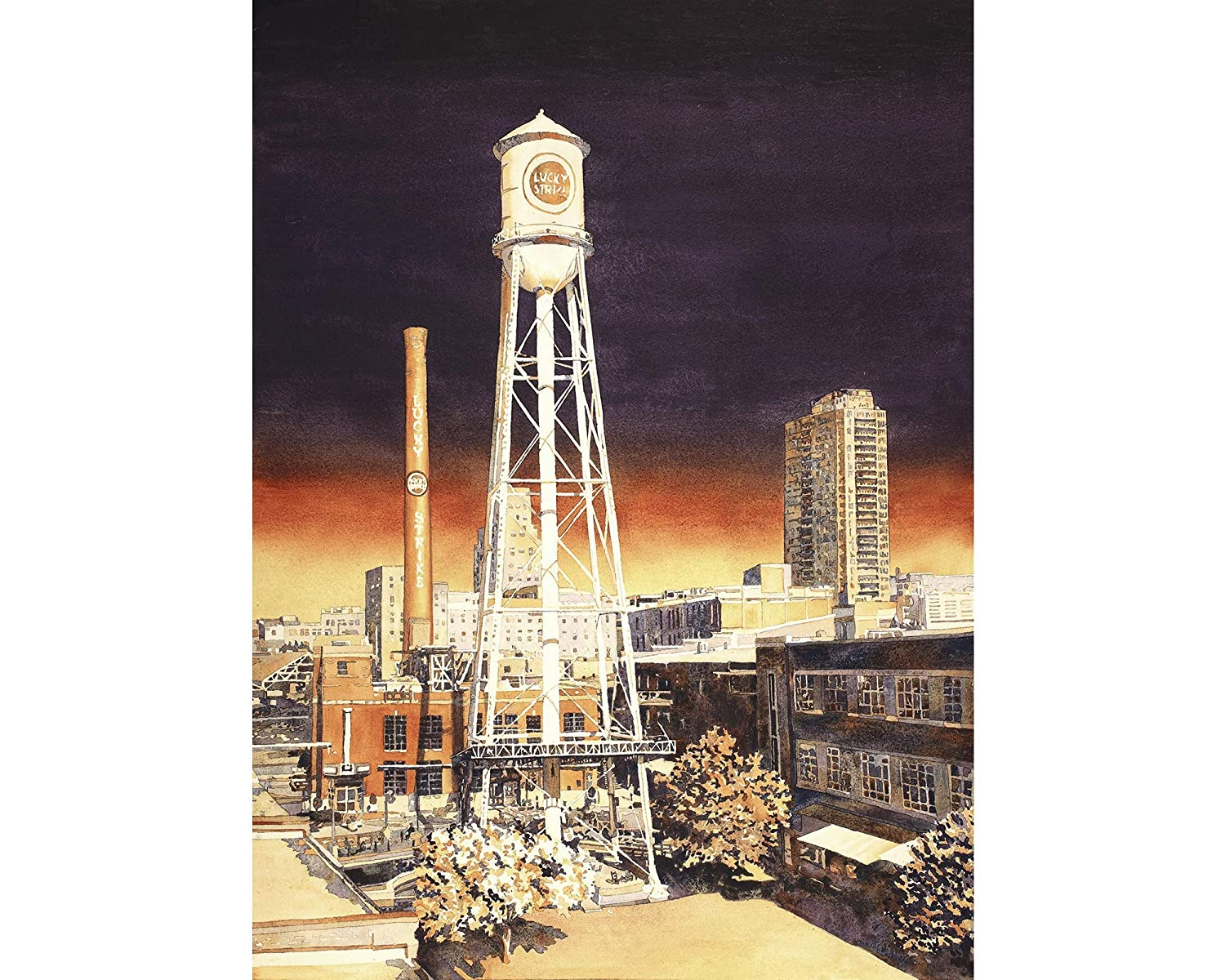 Durham NC sklyine watercolor Time sale painting. Ameri 2021 model tower on the Water