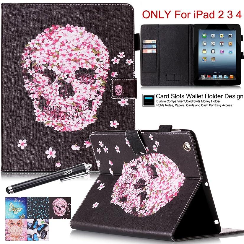 iPad 2 Case, iPad 3 4 Case - Newshine Colorful Smart PU Leather Stand Cover with Card Holder for Apple iPad 2 & iPad 3 & iPad 4 9.7 inch, with Auto Sleep/Wake Up Function, Petal&Skull