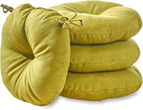 South Pine Porch AM6817S4-KIWI Solid Kiwi Green 18-inch Round Outdoor Bistro Chair Cushion, Set of 4