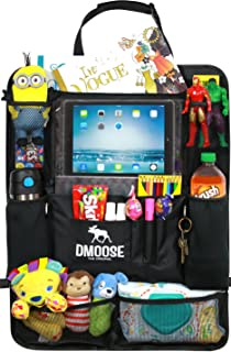 DMoose Car Backseat Organizer for Kids with Touchscreen Tablet Holder, Neoprene Water Bottle Pockets, and Space Saving Storage, Seat Protector Kick Mat and Travel Support