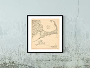 Map|Northeast U.S. State & City s, Cape Cod & Martha's Vineyard & Nantucket & Provincetown 1910 Circa City|Vintage Fine Art Reproduction|Size: 22x24|Ready to Frame