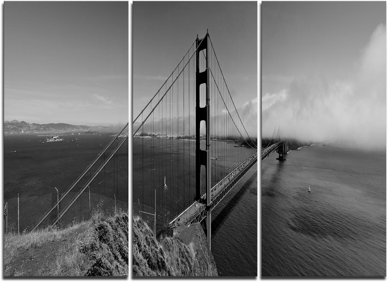 Designart 2020春夏新作 Golden Gate Gray Panorama-Sea 数量限定アウトレット最安価格 Bridge Artwo Canvas Wall