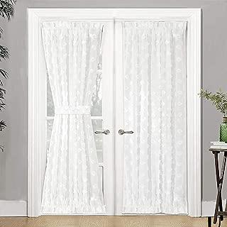 DriftAway Olivia Voile Chiffon Sheer Door Curtain French Door Panel Patio Sliding Window Single Rod Pocket Curtain with Bonus Matching Tieback 52 Inch by 72 Inch Plus 1.5 Inch Header Off White
