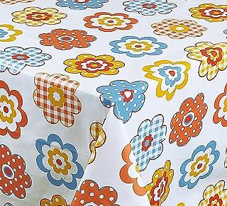 Nappe toile cirée PVC Rectangulaire 140 x 200 cm Blanc Orange Bleu