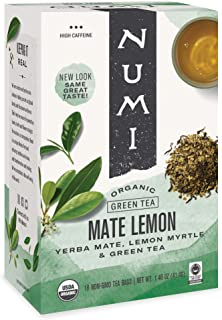 Numi Organic Tea Mate Lemon, 18 Count (Pack of 1) Box of Tea Bags, Yerba Mate Green Tea Blend (Packaging May Vary)