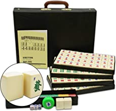 Mose Cafolo Chinese Mahjong X-Large 144 Numbered White Ivory Color Melamine Tiles 1.5 Inch Large Tile with Black Carrying Travel Case Pro Complete Game Set -( Majiang,Mah Jong, Mahjongg, Mah-Jong)