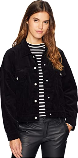 Black Corduroy Trucker Jacket in Bambina