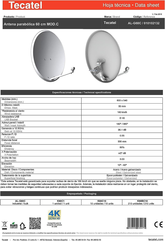 Tecatel K60C1LS - Kit parabólica 60 cm, Soporte y LNB Universal (K60C1LS)