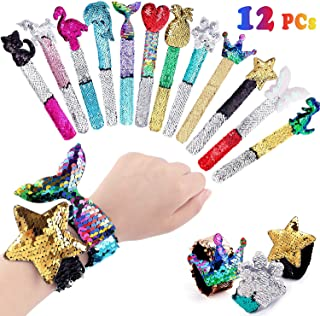 Qunan 12 Pcs Slap Bracelets Mermaid Party Favors Bags Gifts for Kids Class Prizes Two-Color Decorative Reversible Charm Sequins Flip Wristband Slap Bracelets for Girls