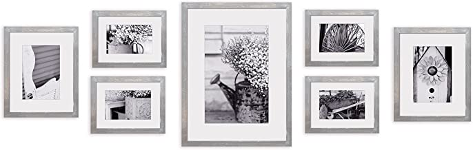 Gallery Perfect Photo Kit with Decorative Art Prints & Hanging Template Gallery Wall Frame Set, 7 Piece, Grey - 17FW2315