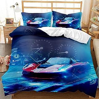 Kseyic Super Racing Passion Parure de lit avec housse de couette et taie d'oreiller Motif voiture de sport Rouge et noir T...