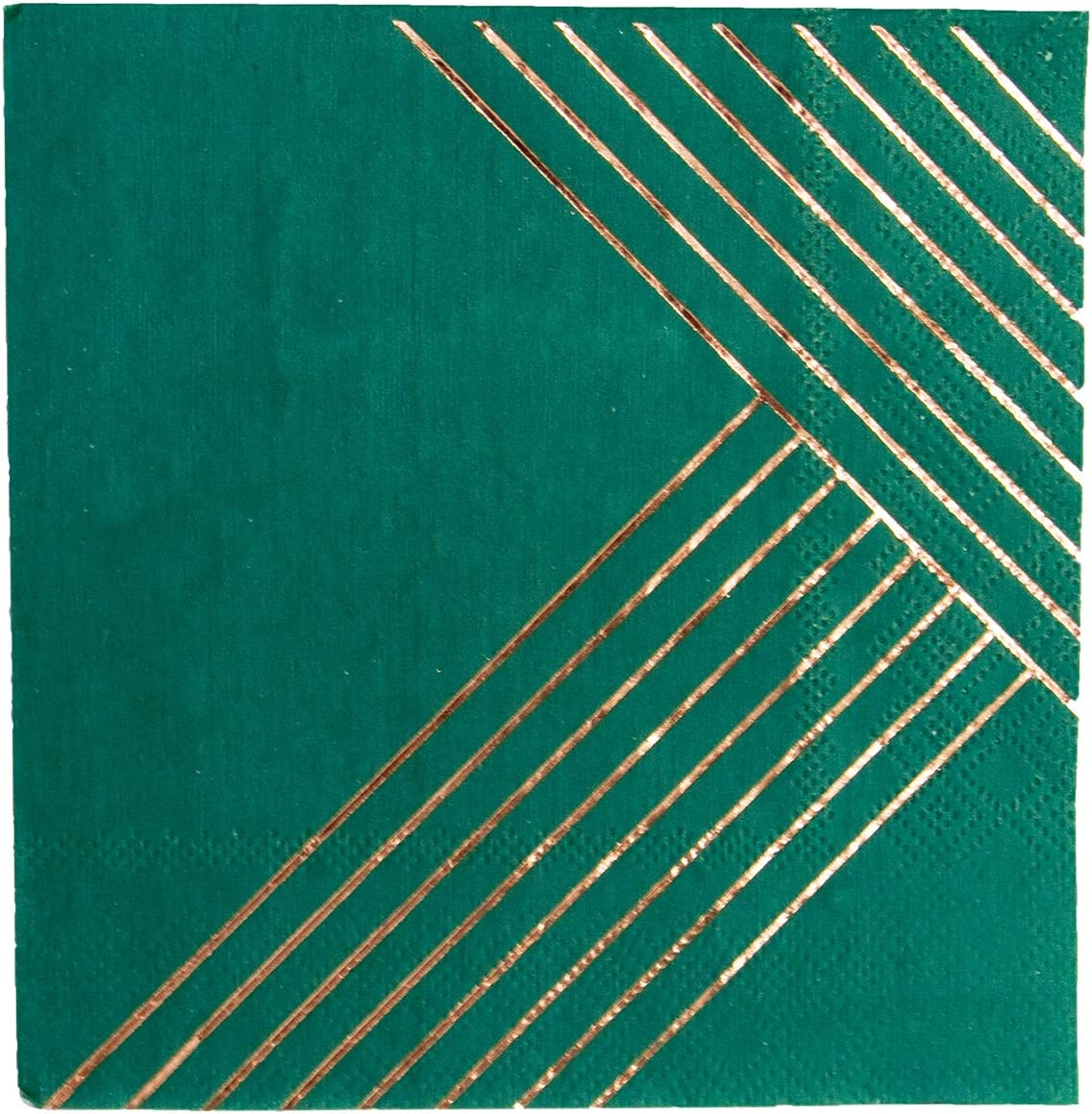 Harlow & Grey Manhattan Dark Green with Rose Gold Foil Striped Cocktail Paper Napkins, Pack of 20 - Birthday, Wedding, Showers Party Napkins