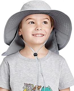 Toddler Kids Sun Hat Wide Brim Bucket Hat with Neck Flap...