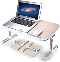 AboveTEK Folding Laptop Table Stand for Bed, Portable Lap Desk Breakfast Tray for Sofa Couch Floor, Height Adjustable Tablet Reading Drawing Table, Standing Desk Computer Riser, Outdoor Camping Table