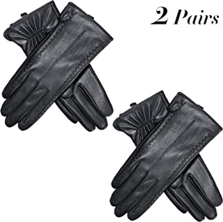 2 Pairs Women Touchscreen Leather Gloves Winter Full-hand Driving Gloves, Black