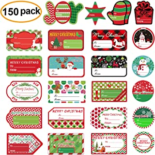 Christmas Self Adhesive Labels Gift Tag Stickers Santa Snowmen Xmas Tree Deer Christmas Festival Birthday Wedding Holiday Decorative Presents Labels Decals Christmas Gift for Friends 150 Pack