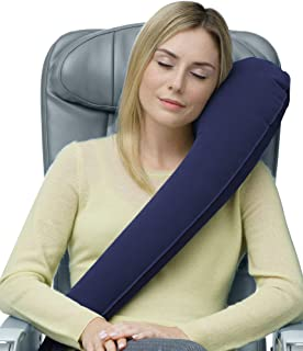 Travelrest Ultimate Travel Pillow & Neck Pillow - Straps to Airplane Seat & Car - Best Accessory for Plane, Auto, Bus, Train, Office Napping, Camping, Wheelchairs (Rolls Up Small) (2-Year Warranty)