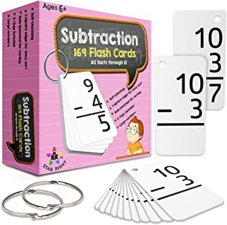 Star Right Education Subtraction Flash Cards, 0-12 (All Facts, 169 Cards) With 2 Rings