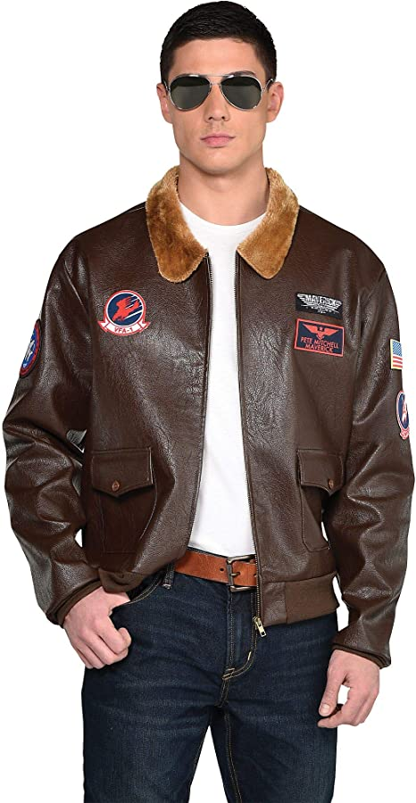 80s Men's Clothing   Shirts, Jeans, Jackets for Guys Party City Top Gun: Maverick Bomber Jacket for Men Halloween Costume Accessory Standard Size Includes Patches  AT vintagedancer.com