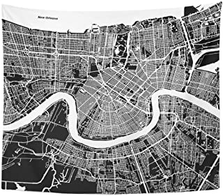 Tapestry Downtown New Orleans Map Artprint Black Landmass White Water and Roads Mississippi River Home Decor Wall Hanging for Living Room Bedroom Dorm 50x60 inches