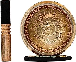 کاسه آواز تبت 4.2 اینچ با مانترا مقدس بودایی و نماد مقدس از نپال design طراحی عتیقه مناسب برای یوگا ، مدیتیشن ، بهبود صدا